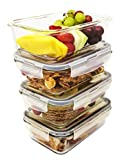 Glass Meal prep containers Set of 4 Storage containers with lids Can be Used in The Microwave Oven and Freezer with airtight lids Steam Vents for Meal prep and Food Storage fits in Your Bag