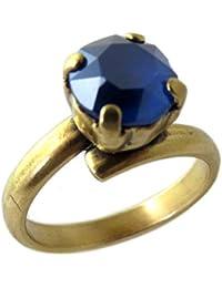Lily-Crystal [Q2717 - Anillo Hecho a Mano 'Tsarine' en Oro Azul Oscuro - 8 mm.