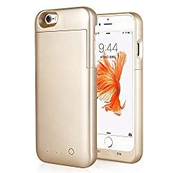 Luxsure 4000mAh iPhone 6 6s Plus 5.5 inch External Portable Battery Case Backup Charging Case Charger Cover Pack Power Bank, Golden