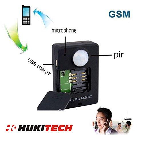 GSM Mobile Alarmanlage mit PIR Bewegungsmelder und Infrarot Sensor - Quadband mit Rückruffunktion - GSM Babyphone - Version 2018 - Farbe Schwarz