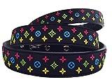 Lushpetz Designer Inspiriertes Hundehalsband in braun, schwarz oder weiß, passende Leinen separat erhältlich (Mittel, Schwarz)