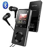 AGPTEK HiFi Bluetooth 4.0 Lettore MP3 8GB Metallico con Pulsante Volume Indipendente, Altoparlante Incorporato, Funzione Radio FM, Registratore Vocale, Supporto per Scheda TF Fino a 128 GB, Nero