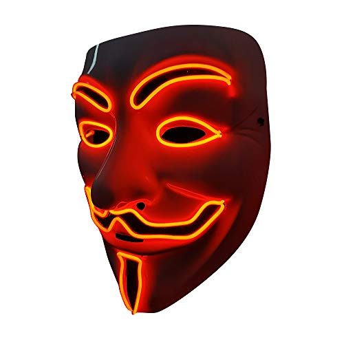 SOUTHSKY LED Maske Leuchtend V wie Vendetta Maske mit Led Licht Anonymous Masken Vollmaske Neon Lichter Blinker EL Draht Glowing 3 Modes Für Halloween Kostüm Cosplay Party (V-Rot) (Led Draht Kostüm)