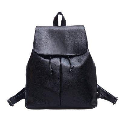 Meoaeo Ms Pelle Pu Moda Femminile All-Match College Style Tempo Libero Tutto Nero All black