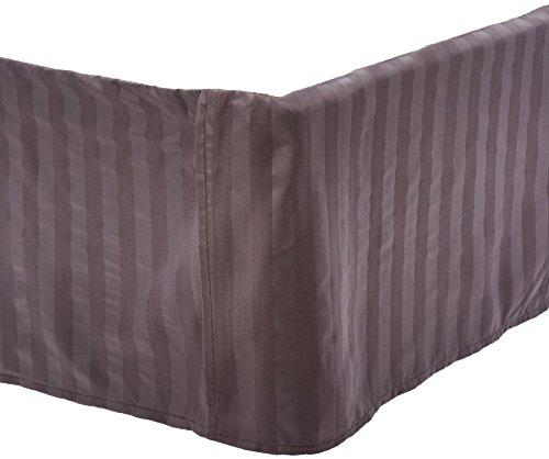 'knitterfreie–Ägyptische Qualität Streifen Bett Rock–plissiert Tailored 35,6cm Drop–alle Größen und Farben, baumwolle, grau, California King -