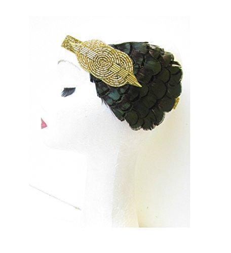 Vert foncé et or plume bandeau bandeau style vintage années 1920 Flapper coiffe V11 * * * * * * * * exclusivement vendu par – Beauté * * * * * * * *