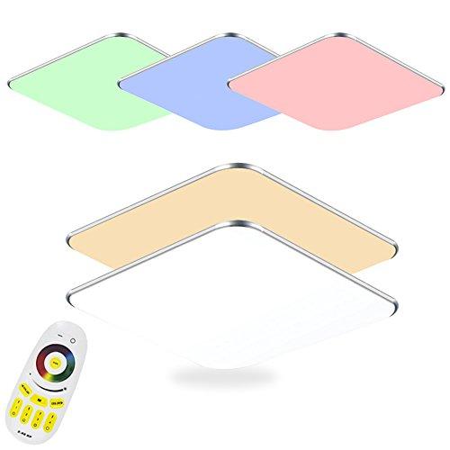 flur deckenleuchte SAILUN 36W Dimmbar und RGB LED Deckenleuchten Silber Deckenlampe für Schlafzimmer Wohnzimmer Flur Küche (36W RGB)