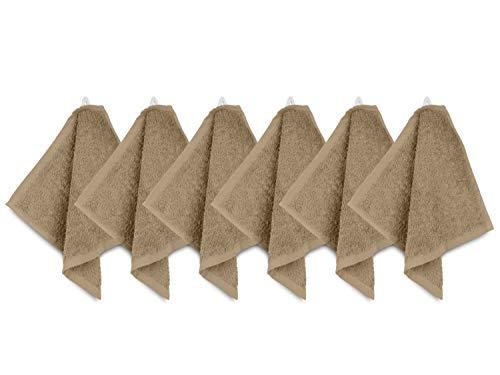 npluseins Packs zum Sparpreis - solide Frottiertücher - erhältlich in 20 modernen Farben und 8 verschiedenen Größen, 6er Pack Seiftücher (30 x 30 cm), sand