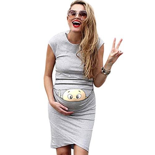 Baumwolle Kurze Kleid (mama stadt Umstandsmode Damen Kleider Sommer Kurz Baumwolle Umstandskleid Große Größen Lässiges Schwanger Kleidung mit Witzige Muster/M)
