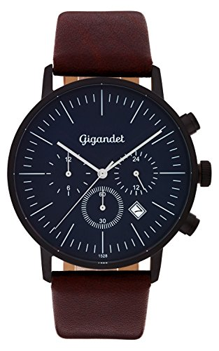 Gigandet Quartz Men's Watch Minimalism III Dual Time Date Analog Leather Wrist Watch Strap Black Brown Blue G22 002