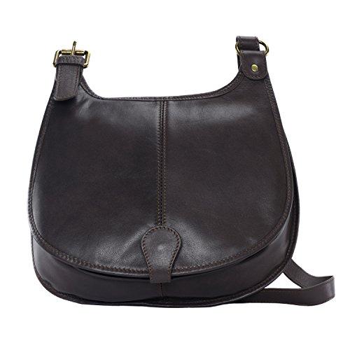 OH MY BAG Sac à main bandoulière porté de travers CUIR souple femme Modèle M marron foncé - nouvelle collection 2018