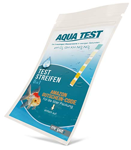Mr. Petz Aqua Test - 20 x Optimierte Aquarium Teststreifen - 6in1 Schnelltest für Aquariumwasser - PH Test Stripes - Die 6 Wichtigen Werte zur Überprüfung der Wasserqualität