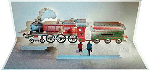 Pop Up 3D Karte Lokomotive Grusskarte Geburtstag Gutschein Historischer Zug Wagon 25x15cm