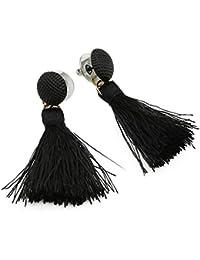 pendientes mujer flecos Sannysis pendientes largos bisuteria con botón de estilo vintage bohemio de borla pendiente de borlas de lana pendientes cruz aro para boda (negro)
