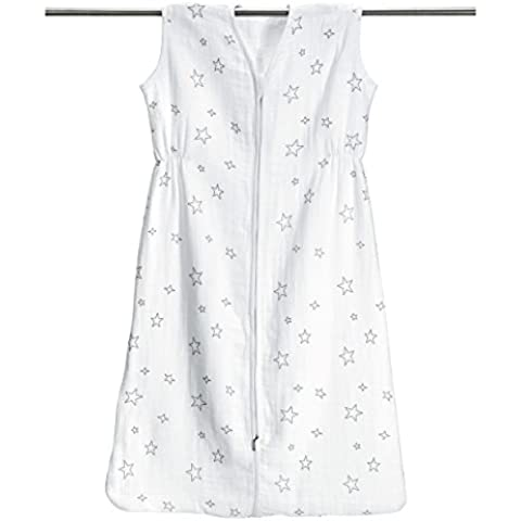 Saco de dormir de–Estrellas Gris de algodón 100% muselina, tamaño 90cm (aprox. 6–18meses)   especialmente transpirable & schadstoffgeprüft Saco de dormir de verano, saco de dormir Baby Verano)