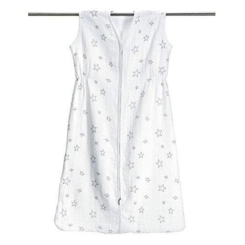 Baby Sommer Schlafsack - Sterne Grau aus 100% Baumwolle Musselin | Größe 90 cm (ca. 6-18 Monate) | besonders atmungsaktiv & schadstoffgeprüft | Sommerschlafsack, Schlafsack Baby Sommer)