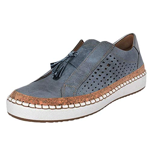 Sportschuhe für Damen/Dorical Frauen Slip on Sneakers, Casual Hohle-Heraus Round Toe Schuhe, Bequeme Sneaker Slipper, Halbschuhe,Sportlich Flats Damenschuhe(Z02-Blau,35 EU)