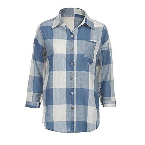 Femme T-shirt, Feixiang personnalisation Exclusive pour femme Check Plaid décontracté Loose Chemises à manches longues T-shirt TOPS Chemisier, plastique, bleu, M