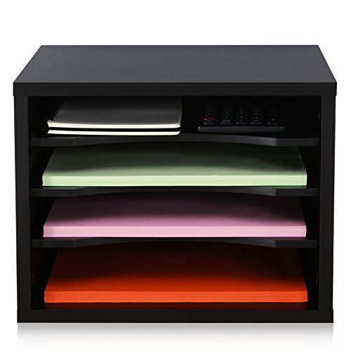 FITUEYES Schreibtisch Ablagesystem Tisch Organizer aus Holz 35,5 x25cm schwarz stapelbar DO403501WB