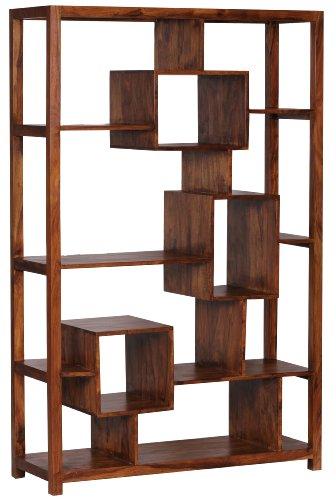 WOHNLING Bücherregal Massiv-Holz Sheesham 115 x 180 cm ...