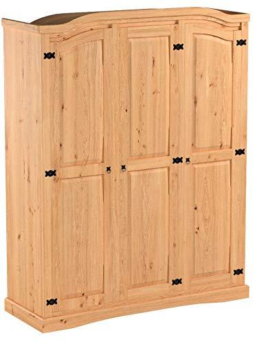 dynamic24 3trg massiv Kiefer Mexico Kleiderschrank New Mexiko Schlafzimmer-Schrank 1