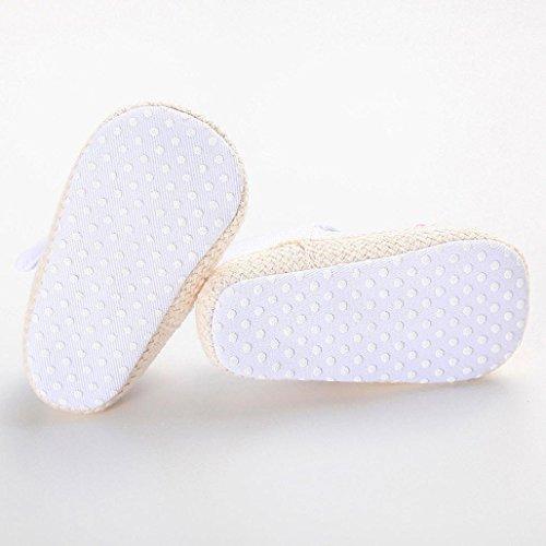 Clode® chaussures à semelle souple bébé fille lit chaussure chaussures de bébé (6~12 mois, Rose vif) blanc
