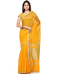 Kanchnar Women's Blue And Golden Cotton Linen Plain Party Wear Saree With Un-stitched Blouse Fabric