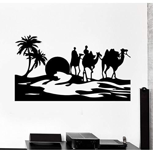 ykxykw Aufkleber Kamel Wüste Oase Mirage Art Wall Aufkleber Vinyl Wandtattoos Wohnzimmer Mit Wandmalereien 57 * 99 cm Dekoriert -