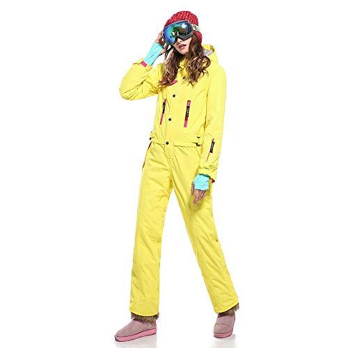 SAENSHING Frauen Winter Ski Wasserdichte Anz¨¹ge einteilig ausziehen leicht gelb