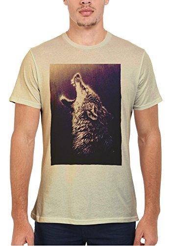 Howling Wolf Rain Native American Moon Men Women Damen Herren Unisex Top T Shirt Sand(Cream)