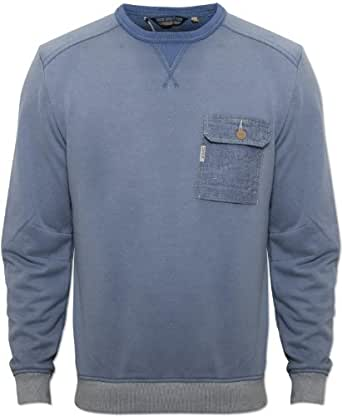 Duck and Cover Mens Blue Minter Jumper Round Neck Elasticated Cuffs and Waist Blue XX-Large