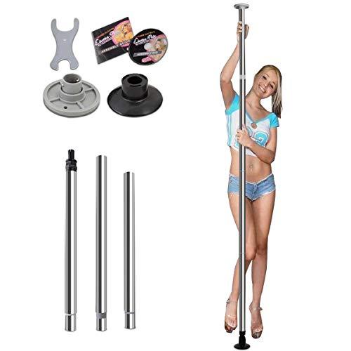 DREAMADE Tanzstange Pole Dance Länge Stangentanz Set, Mentall, Silbrig, Belastbarkeit 100kg, Pole Dance Stange verstellbar