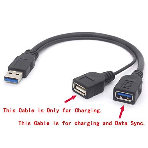 Externe Mobile Power Adapter (Splitterkabel USB 3.0 weiblich - USB 3.0 männlich auf Dual USB weiblich Extra Power Verlängerungskabel Y-Adapter für 2,5 Zoll Mobile Festplatte 20 cm)