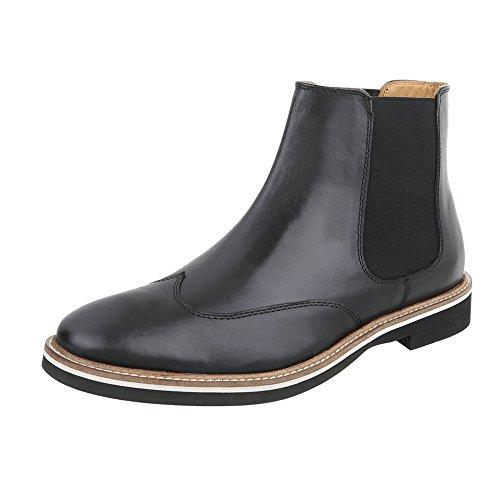 Stiefeletten Leder Herren-Schuhe Chelsea Boots Blockabsatz Blockabsatz Ital-Design Boots Schwarz, Gr 46, Se-22007-