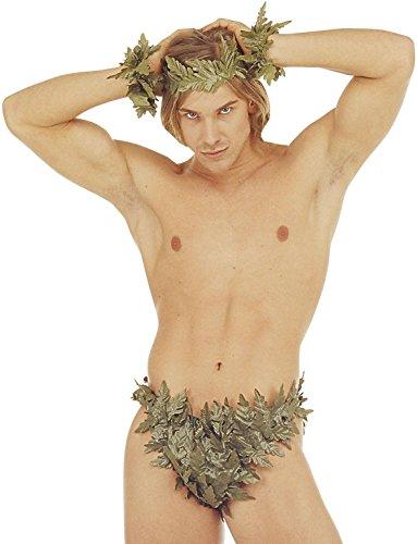 Set uomo Playa Desnuda corona di foglie braccialetti e slip Adamo nudista