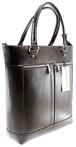 CTM Bag Frau Klassische, Handtasche mit Griffen, 34x36x10cm, echtes Leder 100% Made in Italy Dunkelbraun
