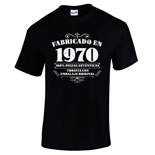 Bang Tidy Clothing Camiseta de Hombre para Regalo de 50 cumpleaños Manufactured 1970 en Negro Talla XXL