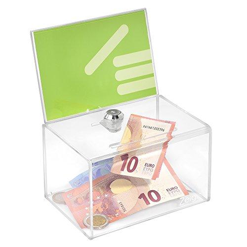 Zeigis - Scatola per donazioni con apertura per poster in formato DIN A6 orizzontale, con serratura, in acrilico e vetro acrilico