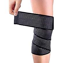 Yosoo negro calcetines altos elasticidad para muslos rodillera Protector de  vendaje de punto de fibra de 93b32be9f797