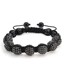 Bling Jewelry Bracelet Style Shamballa Perles Onyx Facettées et Serties de Cristaux Noir 12mm
