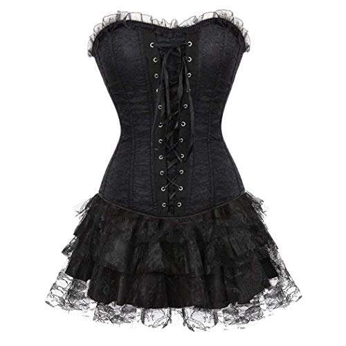 Ruffle Trim Bustier (Women S Black Trim Corset Ruffle Halloween Lace Satin Dress Festlich Bekleidung Mini Tutu Skirt Set for Moulin Rouge Showgirl Clubwear (Color : Black-Black, Size : W83-88cm/2XL))