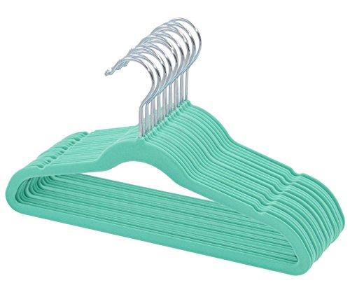 ManGotree Perchas de terciopelo para ni/ños perchas para ni/ños de beb/é para ropa Ahorro de espacio 15 paquete antideslizante azul