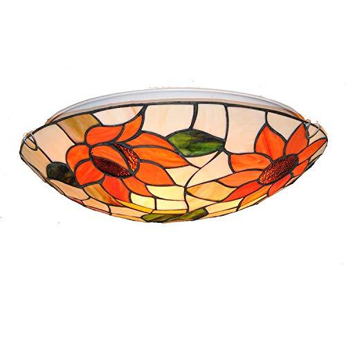 Creative Sun Flower Lámpara de techo, Tiffany Vidrio colorido Mediterráneo Estilo pastoral...