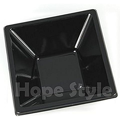 Cuencos cuadrados de plástico (reutilizable - desechable, 12 cm), 30unidades, color negro