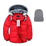 YoungSoul Kinder Daunenjacken Winterjacke mit Abnehmbarer Kapuze für Jungen Mädchen Kinderweste Daunenweste warm Herbstjacken Wintermantel Rot 8-9T/Körpergröße 130-140cm
