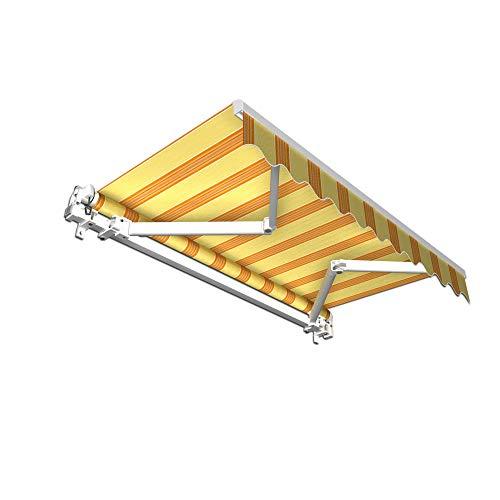 jarolift Gelenkarmmarkise Basic Markise mit Volant für Terrasse Garten Balkon, 250 x 150 cm (Breite x Ausfall), Stoff gelb/orange Multistreifen