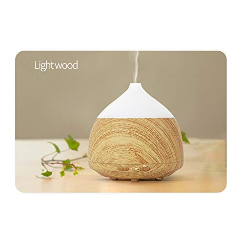 QAQWER Aroma Luftbefeuchter, Aroma Diffusor Kokos Aroma Luftbefeuchter Holzmaserung Haushaltsluftreiniger, Smart, Klein Tragbar,Lightwoodgrain (Kein Aroma Kokosnuss-öl)