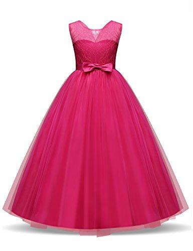 NNJXD Mädchen Kinder Spitze Tüll Hochzeit Kleid Prinzessin Kleider Größe (150) 10-11 Jahre Rose