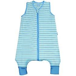 Slumbersac - Saco de dormir con diseño a rayas para bebé (para verano, con pies, 0,5 tog, disponible en 5 tallas) azul azul/blanco Talla:3-4 años