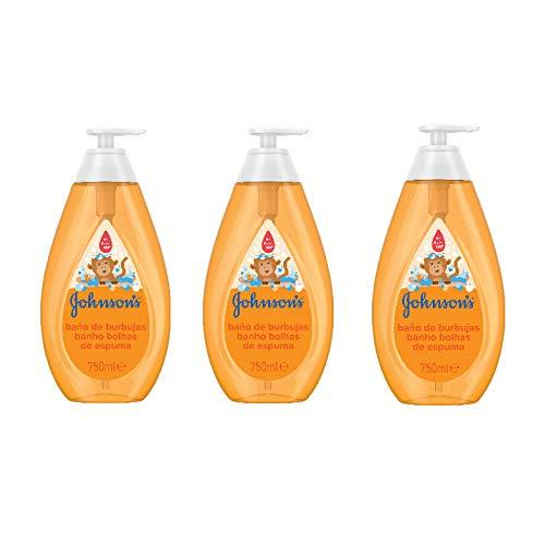 Johnson\'s Baby Baño de Burbujas para niños, formulado para la piel delicada de los bebés - 3 x 750 ml